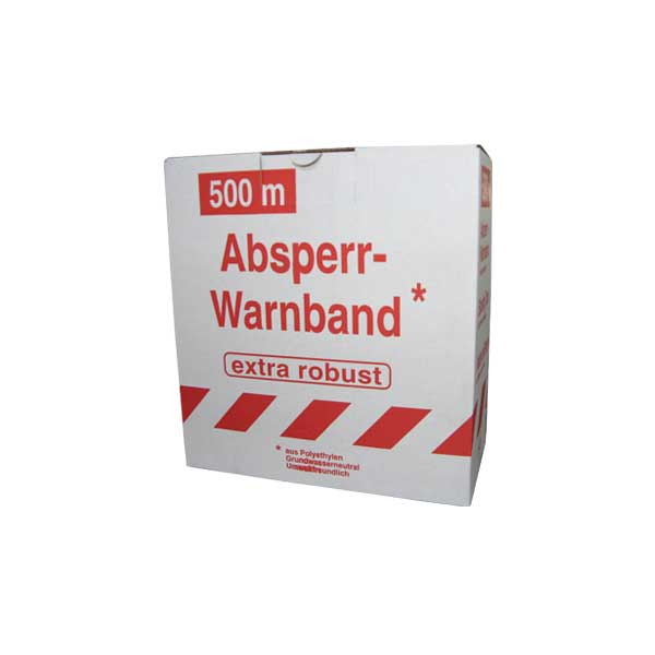ABSPERRBAND unbedruckt, beidseitig rot/weiß, 80mm x 500m