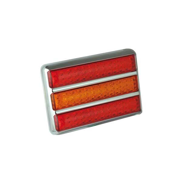 200CARRME LED-Leuchtenkombination, Stop/Schlusslicht/Fahrtrichtungsanzeiger, Montagerahmen chrom