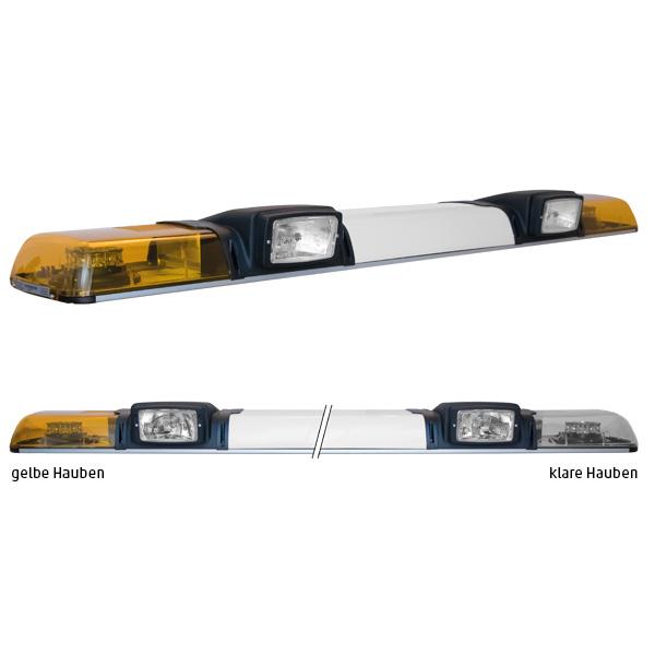 XPRESS 2ELP360-2H4, L=149cm, 24VDC, Warnfarbe gelb, Haubenfarbe klar, Schild 52cm, 2x H4-Scheinwerfer