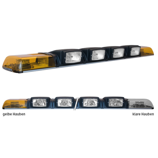 XPRESS 2ELP360-4H4, L=149cm, 12VDC, Warnfarbe gelb, Haubenfarbe klar, 4x H4-Scheinwerfer