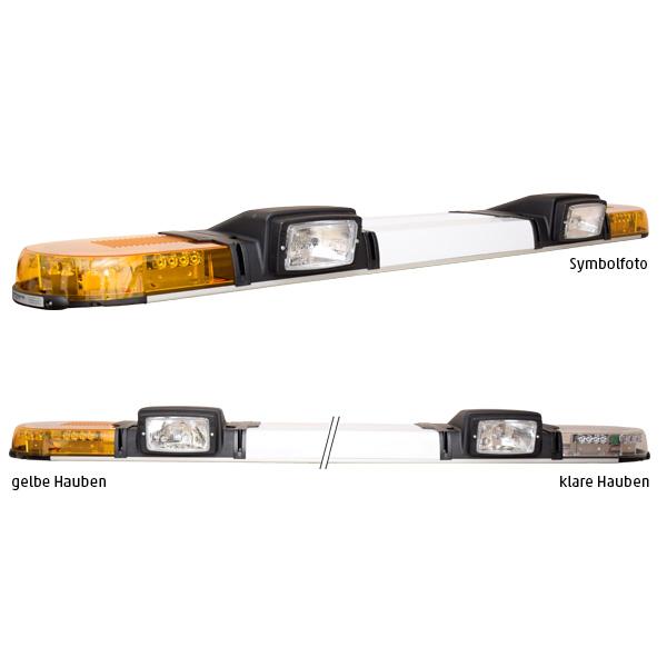XPERT 2ELP360-2H3, L=153cm, 12VDC, Warnfarbe gelb, Haubenfarbe klar, Schild 36cm, 2x H3-Scheinwerfer