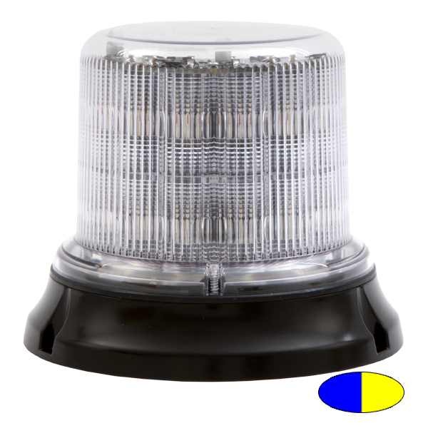 IMPACT DR, 10-30VDC, Warnfarbe blau/gelb, klare Haube, 12+12 LEDs, 3-Lochbefestigung