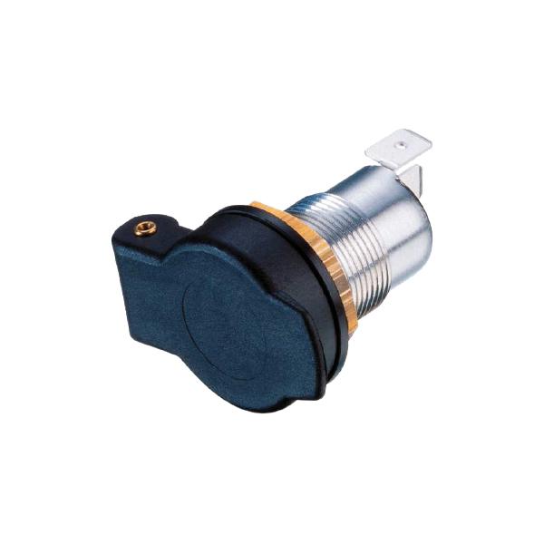 Einbau-Normsteckdose, Metall, mit Schnappdeckel, 10-30VDC/16A
