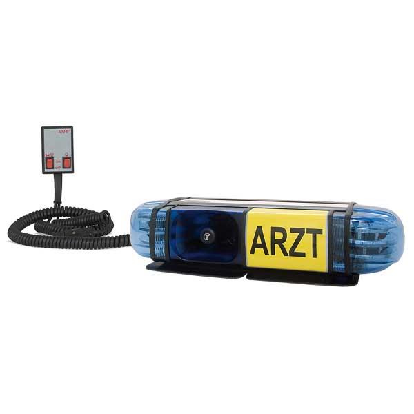 "PICCOLINO, 12VDC, Warnfarbe blau, Beklebung ""ARZT"", 2 S9 LED-Module, Rettung-Ö, Magnethalterung"
