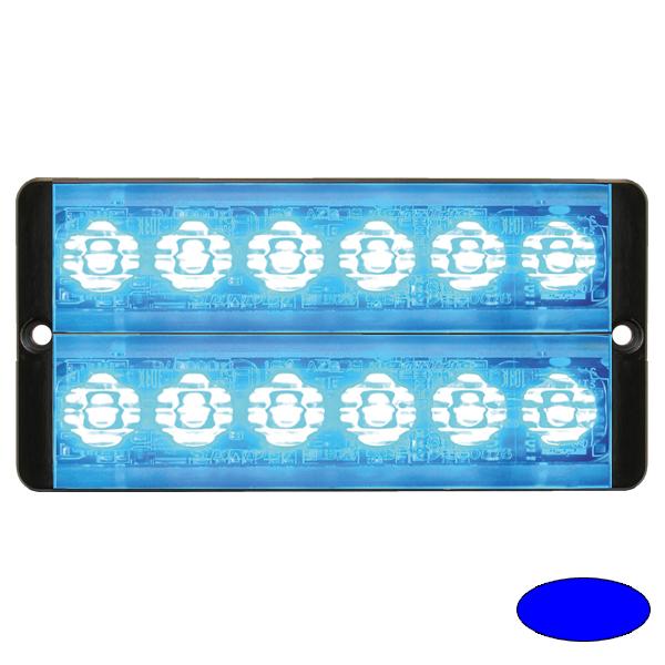 SLIMLINE E52-10016-D-EBB, 10-30VDC, 2x6 3W-LEDs, Warnfarbe blau/blau