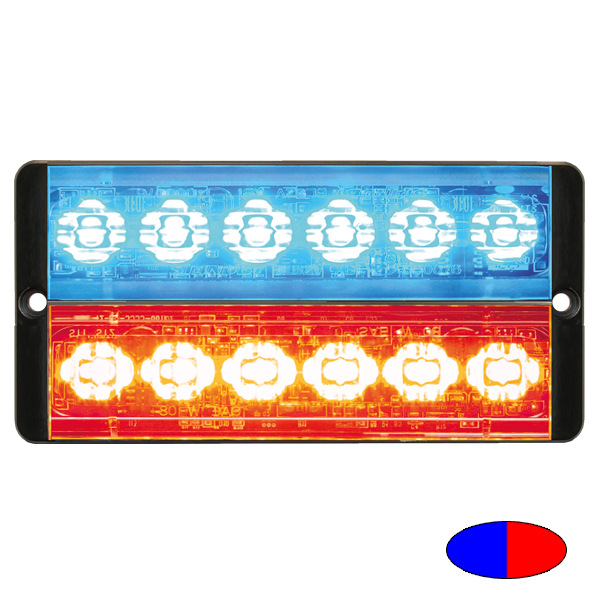 SLIMLINE E52-10016-D-EBR, 10-30VDC, 2x6 3W-LEDs, Warnfarbe blau/Sonderfarbe rot