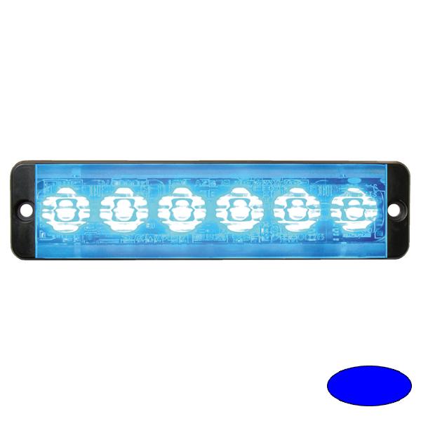 SLIMLINE E52-10016-EB, 10-30VDC, 6x 3W-LEDs, Warnfarbe blau